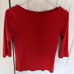 Red Quarter Sleeve Top